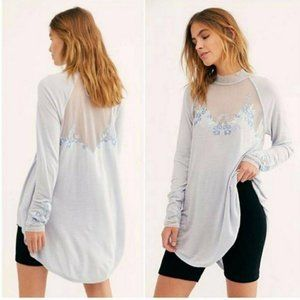 Free People Saheli Embroidered Mesh Top Blue XS YY